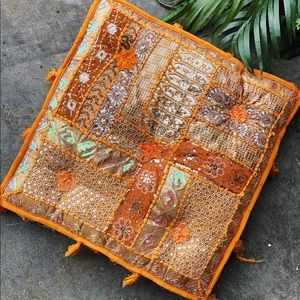 Bright orange hand embroidered floor pouf